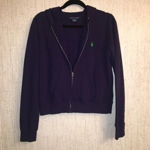 Ralph Lauren zippered hoodie size Large dark blue